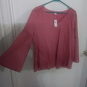 Old Navy Boho Pink Bell Sleeve Top